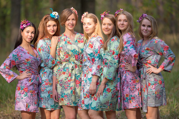 Mint Cute Bows Pattern Bridesmaids Robes