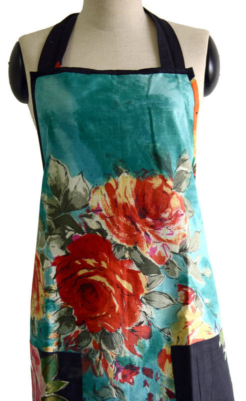 Teal Floral Full Apron