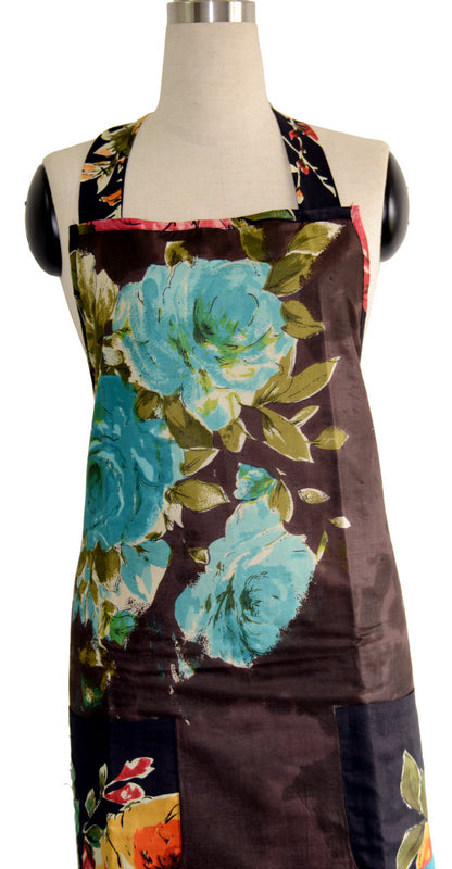 Brown Floral Full Apron