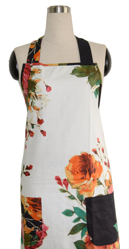White Floral Full Apron
