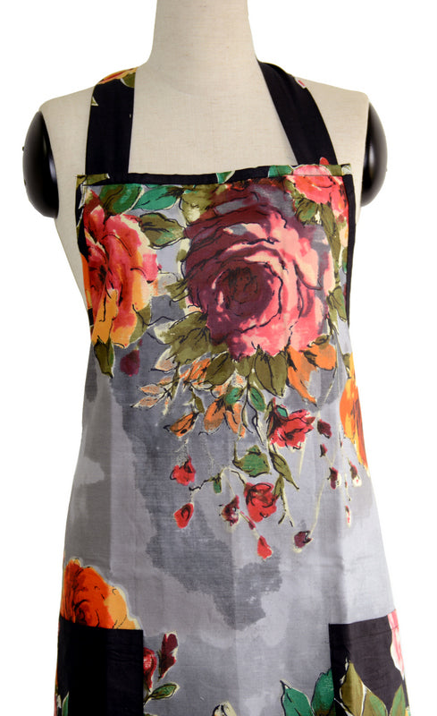 Gray Floral Full Apron