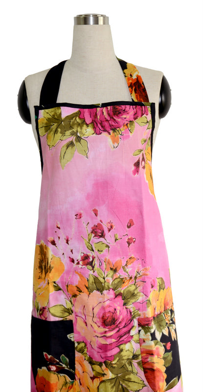 Pink Floral Full Apron