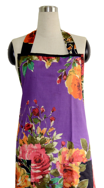 Purple Floral Full Apron