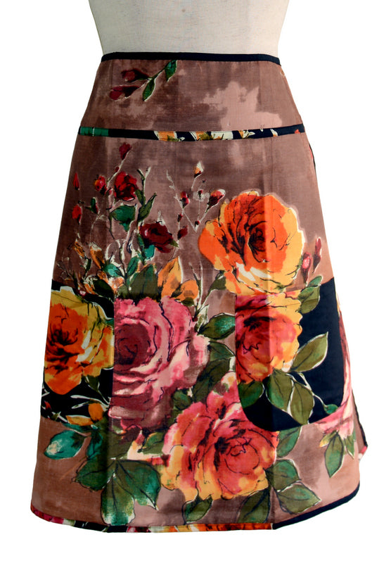 Brown Floral Half Apron