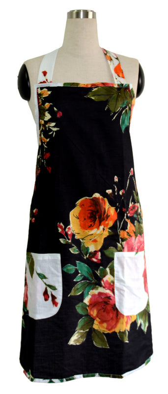 Black Floral Kitchen Apron