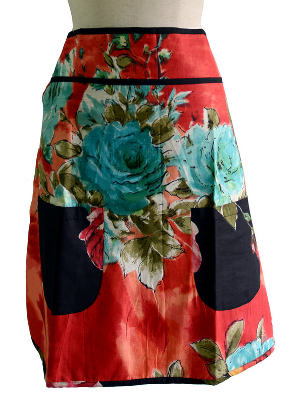 Red Floral Half Apron