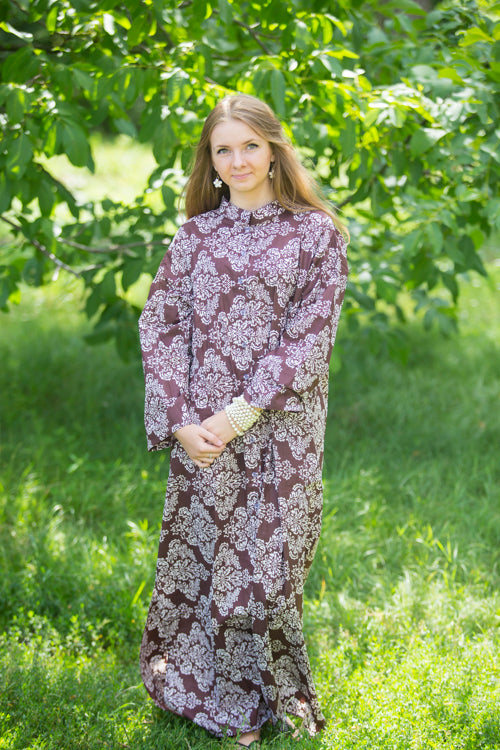 Dark Brown Charming Collars Style Caftan in Damask Pattern