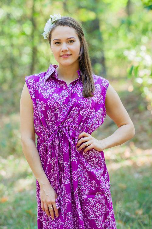 Purple Cool Summer Style Caftan in Damask Pattern|Purple Cool Summer Style Caftan in Damask Pattern|Damask
