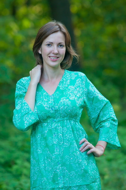 Teal Button Me Down Style Caftan in Damask Pattern|Teal Button Me Down Style Caftan in Damask Pattern|Damask