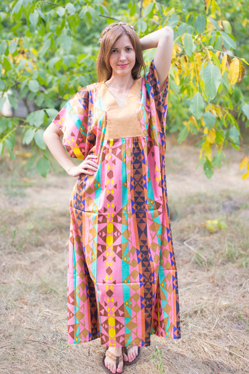 Coral Flowing River Style Caftan in Diamond Aztec Pattern
