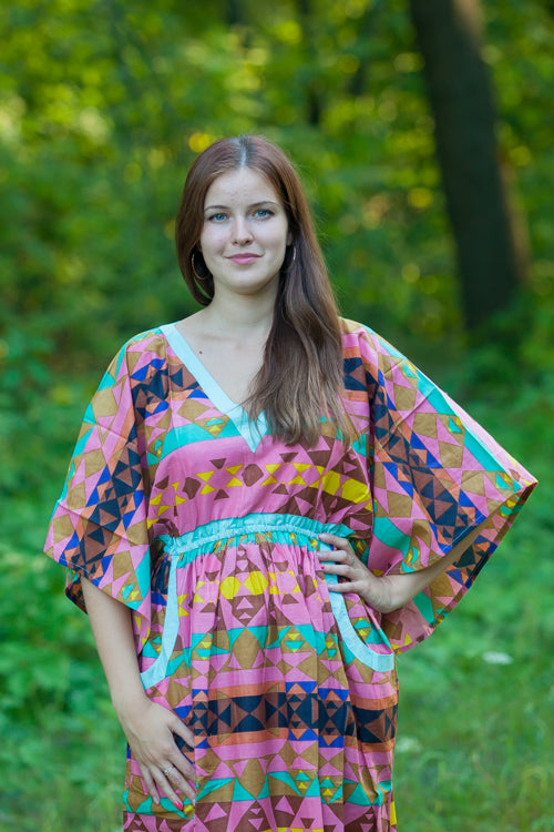 Coral Breezy Bohemian Style Caftan in Diamond Aztec Pattern|Coral Breezy Bohemian Style Caftan in Diamond Aztec Pattern|Diamond Aztec