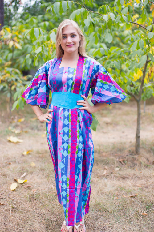 Dark Blue Beauty, Belt and Beyond Style Caftan in Diamond Aztec