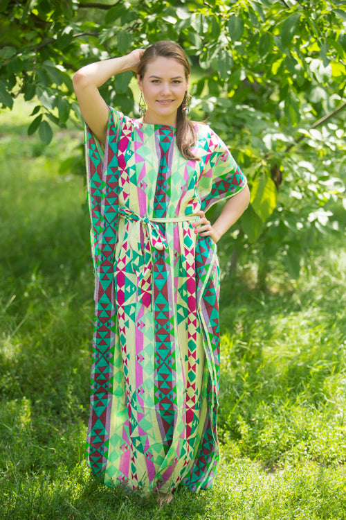 Light Yellow Divinely Simple Style Caftan in Diamond Aztec Pattern