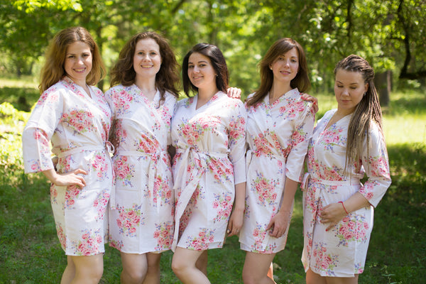 Faded Flowers Pattern Bridesmaids Robes|White Faded Flowers Pattern Bridesmaids Robes|Faded Flowers