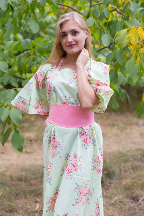 Mint Beauty, Belt and Beyond Style Caftan in Faded Flowers|Mint Beauty, Belt and Beyond Style Caftan in Faded Flowers|Faded Flowers