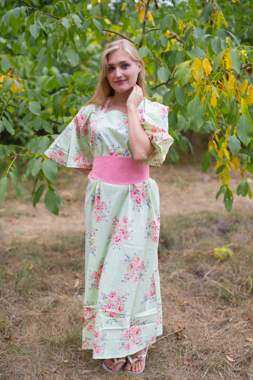Mint Beauty, Belt and Beyond Style Caftan in Faded Flowers