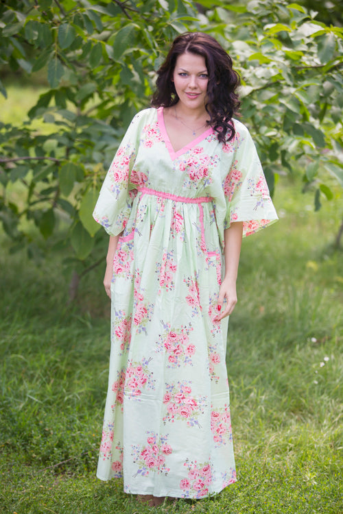 Mint Breezy Bohemian Style Caftan in Faded Flowers Pattern
