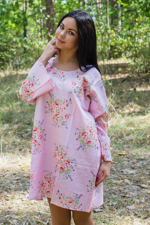 Pink Bella Tunic Style Caftan in Faded Flowers Pattern|Pink Bella Tunic Style Caftan in Faded Flowers Pattern|Faded Flowers