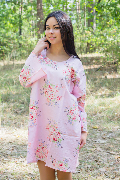 Pink Bella Tunic Style Caftan in Faded Flowers Pattern