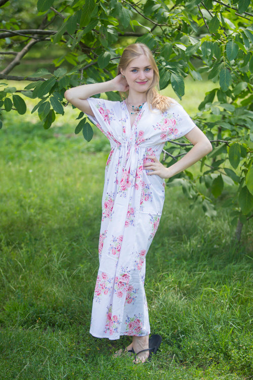 White Beach Days Style Caftan in Faded Flowers