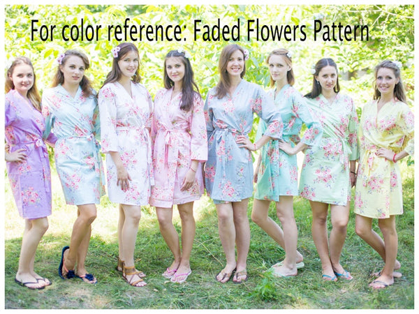 Mismatched Faded Flowers Patterned Bridesmaids Robes in Soft Tones