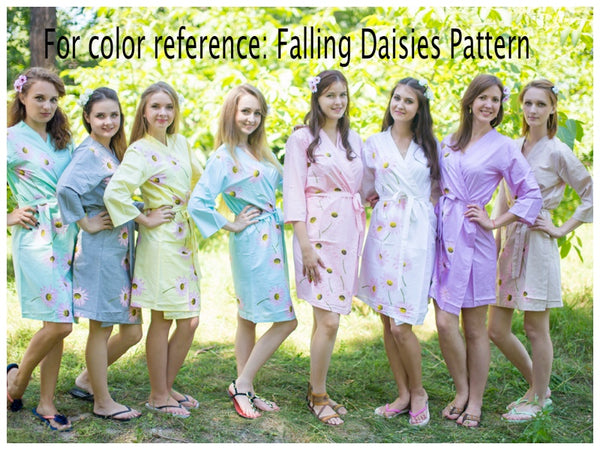 White Falling Daisies Pattern Bridesmaids Robes