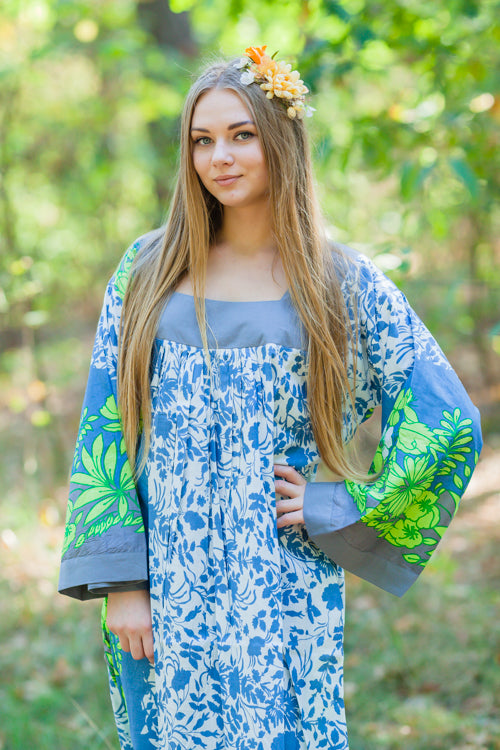 Blue Fire Maiden Style Caftan in Falling Leaves Pattern|Blue Fire Maiden Style Caftan in Falling Leaves Pattern|Falling Leaves