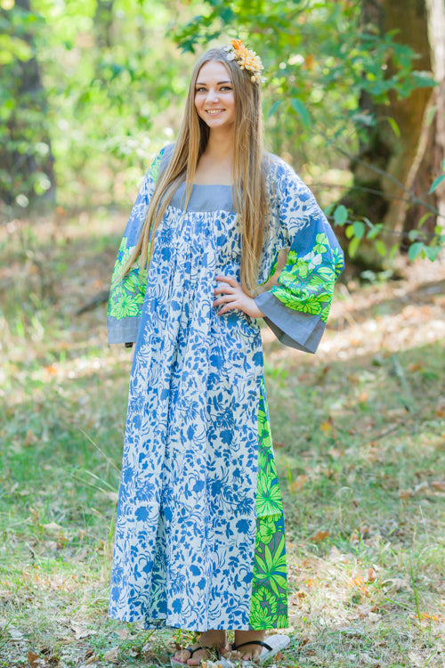 Blue Fire Maiden Style Caftan in Falling Leaves Pattern