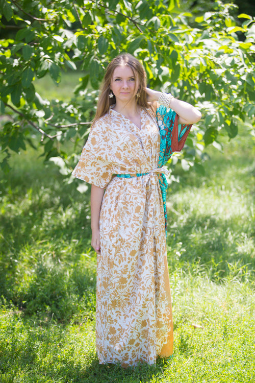 Off White Peach Best of both the worlds Style Caftan in Falling Leaves Pattern|Off White Peach Best of both the worlds Style Caftan in Falling Leaves Pattern|Falling Leaves