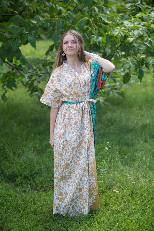 Off White Peach Best of both the worlds Style Caftan in Falling Leaves Pattern