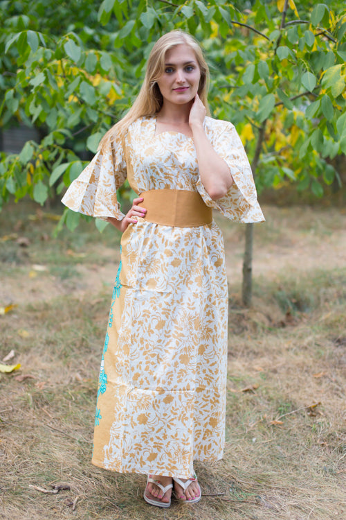 Peach Beauty, Belt and Beyond Style Caftan in Falling Leaves