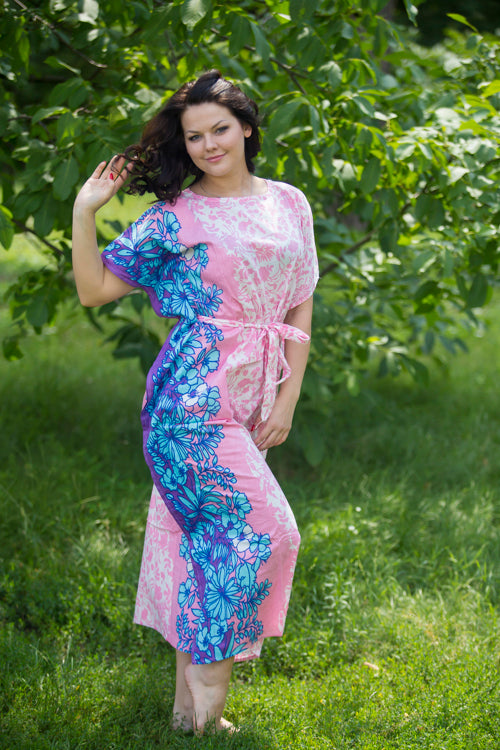 Pink Divinely Simple Style Caftan in Falling Leaves Pattern