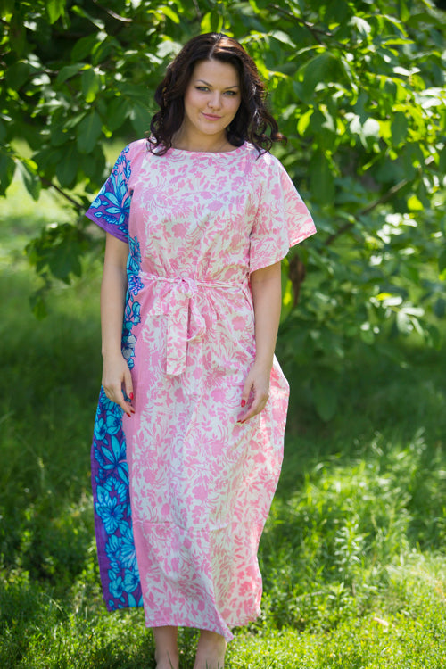 Pink Divinely Simple Style Caftan in Falling Leaves Pattern|Pink Divinely Simple Style Caftan in Falling Leaves Pattern|Falling Leaves