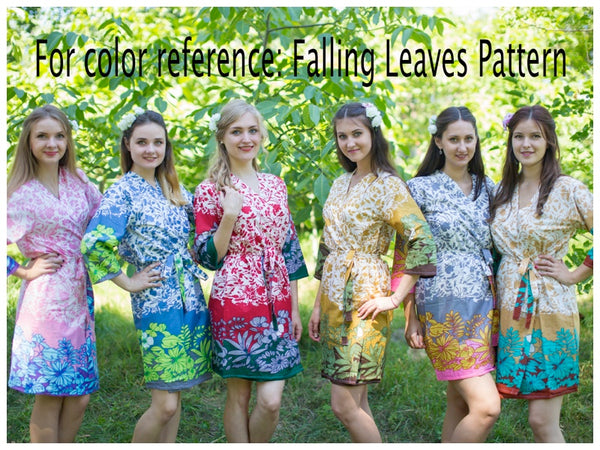 Pink Charming Collars Style Caftan in Falling Leaves Pattern