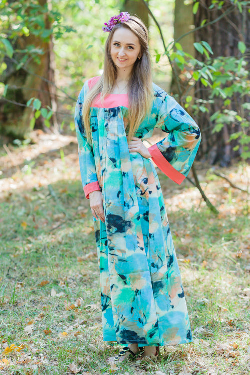 Aqua Fire Maiden Style Caftan in Flamingo Watercolor Pattern
