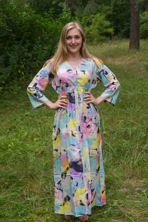 Blue Pink Button Me Down Style Caftan in Flamingo Watercolor Pattern
