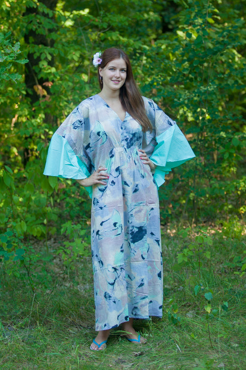 Gray Aqua Ballerina Style Caftan in Flamingo Watercolor