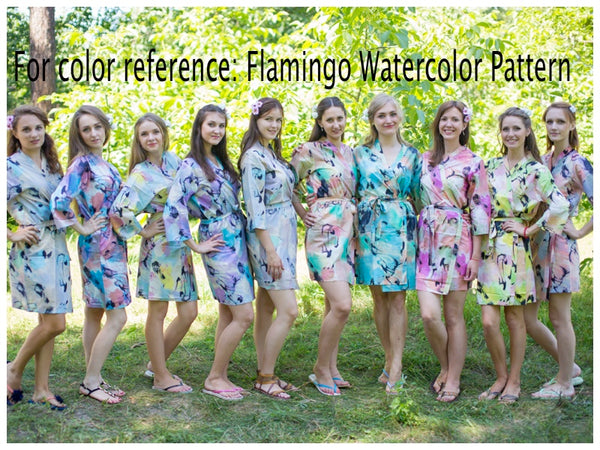 Mismatched Flamingo Watercolor Patterned Bridesmaids Robes in Soft Tones