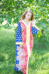 Dark Blue The Glow-within Style Caftan in Floral Bordered Pattern
