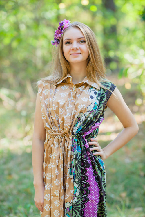 Fawn Cool Summer Style Caftan in Floral Bordered Pattern