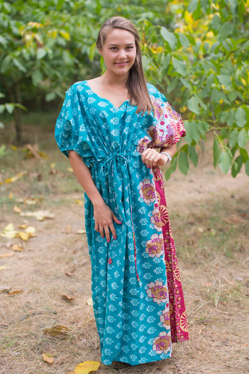 Teal Cut Out Cute Style Caftan in Floral Bordered Pattern|Teal Cut Out Cute Style Caftan in Floral Bordered Pattern|Floral Bordered