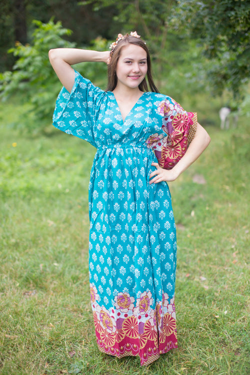 Teal I Wanna Fly Style Caftan in Floral Bordered Pattern|Floral Bordered|Teal I Wanna Fly Style Caftan in Floral Bordered Pattern