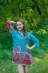 Teal Sun and Sand Style Caftan in Floral Bordered Pattern