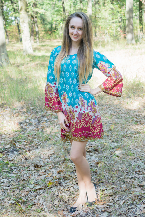 Teal Bella Tunic Style Caftan in Floral Bordered Pattern