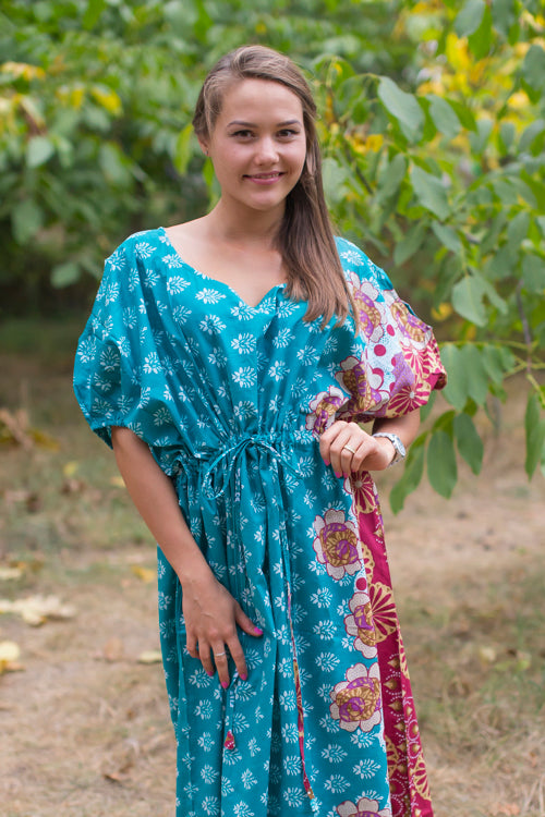 Teal Cut Out Cute Style Caftan in Floral Bordered Pattern