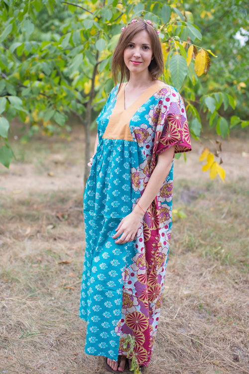 Teal Flowing River Style Caftan in Floral Bordered Pattern