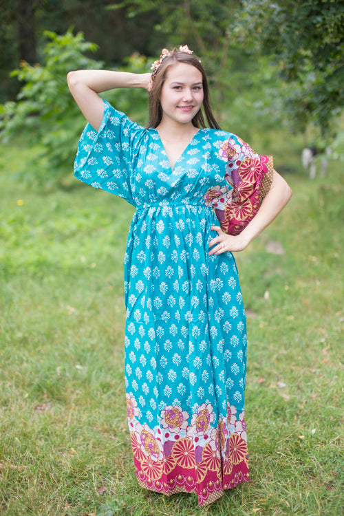 Teal I Wanna Fly Style Caftan in Floral Bordered Pattern
