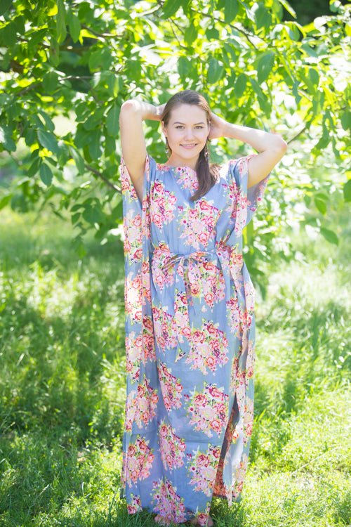 Gray Divinely Simple Style Caftan in Floral Posy Pattern