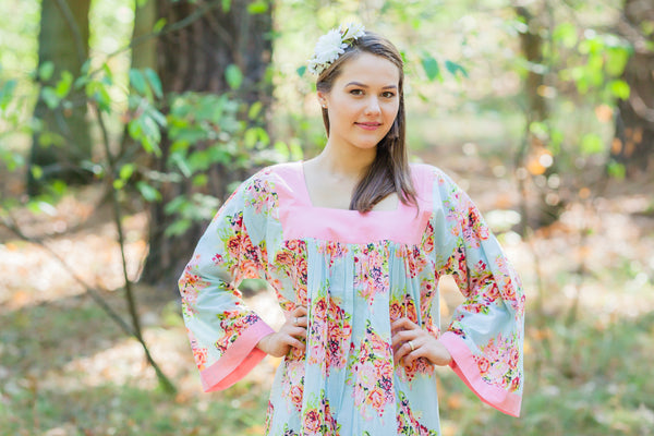 Light Blue Fire Maiden Style Caftan in Floral Posy Pattern|Light Blue Fire Maiden Style Caftan in Floral Posy Pattern|Floral Posy