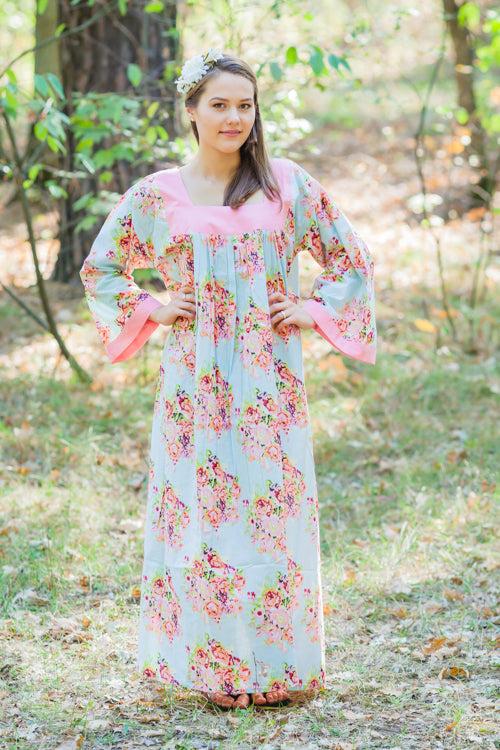 Light Blue Fire Maiden Style Caftan in Floral Posy Pattern